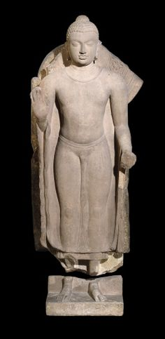 Photo of Sandstone figure of the Buddha, sandstone Period / culture: Gupta Production date: 5thC Findspot: Sarnath Subject: buddha