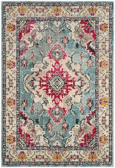 MNC243J Rug from Monaco collection. Free-spirited and vibrantly colored, Monaco Collection rugs bring Bohemian-chic flair to folkloric and formal Persian designs. The soft cut pile is power-loomed of long-wearing polypropylene in classic textures and trendy erased-weave looks.