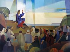 Sermon on the mount. Art by Jorge Cocco. Oil on canvas 30x40 in. 2016 art and prints available at www.jorgecocco.com