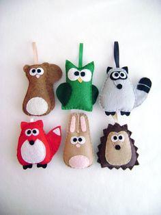 Felt Holiday Ornament Set - The Woodland Critters - Squirrel Raccoon Fox Rabbit Owl Hedgehog. $63.00, via Etsy.