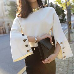 Ravishing Uptown Elegant Button Sleeve Blouse