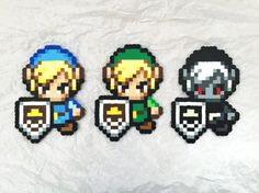 Custom Colored Toon Link Bead Sprites inspired by Super Smash Bros Alternate Costumes