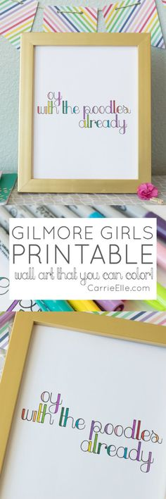 Gilmore Girls Printable Wall Art (that you can COLOR)