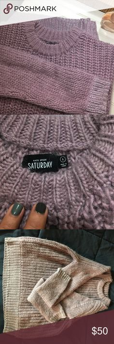 """kate spade Saturday chunky knit sweater 🌸 Beautiful pale purple color, extremely soft with sparkle details on wrists of sleeves and at bottom. Too to bottom measures 23"""" and bust is 20"""" across. Great sweater for fall or winter, very classic! z#0907 kate spade Sweaters Crew & Scoop Necks"""