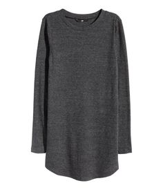 Long, ribbed jersey top in a cotton blend with long sleeves. Gently rounded hem.
