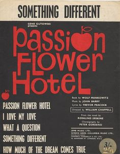 cover from the musical score of passion flower hotel, based on Rosalind Erskine's novel