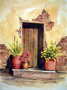 Door With Pots by Sam Sidders on ARTwanted
