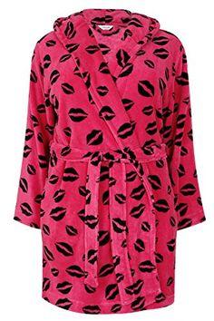 Womens 10 12 14 Fleece Dressing Gown Novelty Birds Print Design Berry Bath Robe