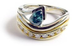 Blue Diamond Ring by Micky Roof for The Jewelbox in Ithaca, NY. For You Blue, Contemporary Jewellery, Opals, Color Splash, Custom Design, Sapphire, Gemstone Rings, Designers, Diamonds