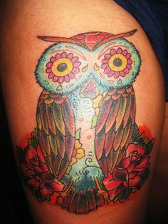 owl tattoo flowers