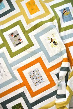 The free Cincinnati quilt pattern is a 21st century take on a classic mid-century modern motif and using Charley Harper's birds as inspiration.