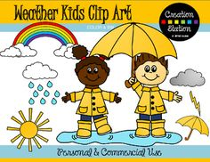 This product is FREE for a limited time!!This Weather Kids Clip art is filled with darling and fun illustrations.  This set includes 32 image files, which includes 16 color images and 16 black & white images in png.  The Weather Kids clip art set includes:* Boy with umbrella* Boy splashing in Puddle* Girl Walking in Puddle* Girl Standing in Puddle* Girl with rain gear on* Rainbow with Clouds* Rainbow without clouds* Sun* Rain Cloud* Cloud* Thunder Cloud* Raindrop* Puddle* Boy and girl Sta...