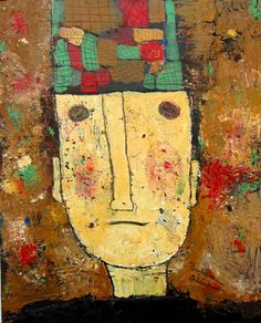 Man wit a checkered hat, Acrylic on canvas ©Barbara Olsen