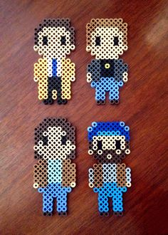 Supernatural Inspired 8 Bit Characters via eb.perler. Click on the image to see more!