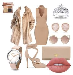 """Nude"" by whatareece on Polyvore featuring Lilli Ann, Prada, MANGO, Monica Vinader, Kobelli, Lime Crime, Bobbi Brown Cosmetics and stylesbyreece"