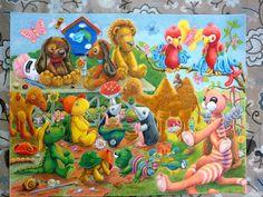 gehaakte beesten op de poster