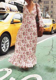 Robe maxi longue imprimé à fleurs volantées col V plongeant manches longues bohème multicolore - Robe longue - Robes