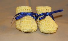 1 pair of 0 to 3 months size - crochet baby booties yellow & blue ribbon newborn #handcrocheted #Booties