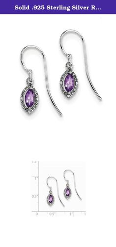 Solid .925 Sterling Silver Rhodium Plated Dia. & Amethyst Marquise Earrings 21x6mm. Material: Primary - Purity:925|Stone Type_1:Diamond|Stone Type_2:Amethyst|Stone Color_2:Purple|Length of Item:21 mm|Stone Weight_1:0.020 ct|Feature:Solid|Manufacturing Process:Casted|Material: Primary:Sterling Silver|Stone Treatment_2:Heating|Width of Item:6 mm|Product Type:Jewelry|Jewelry Type:Earrings|Material: Primary - Color:White|Earring Closure:French Wire|Earring Type:Drop & Dangle|Stone Creation...