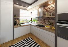 graue Wandfarbe, Arbeitsplatte in Holzoptik und weiße Fronten