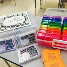 Love this idea for storing task cards! If you don't have one of these photo organizers from @michaelsstores, you MUST get one! They're perfect to hold task cards, scoot games, vocabulary words, flash cards, etc.