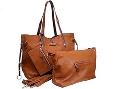 WIDE TAN 4 PIECE PART GENUINE LEATHER TOTE HANDBAG SET WITH INTERNAL BAG, PURSE AND LONG STRAP, £30.00