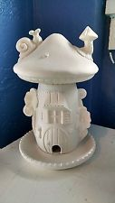Large Elf or Fairy House and home Bird Feeder 3 parts unpainted ceramic bisque r. Large Elf or Fairy House and home Bird Feeder 3 parts unpainted ceramic bisque ready to paint DIY Polymer Clay Fairy, Polymer Clay Projects, Diy Clay, Clay Fairy House, Fairy Houses, Mushroom House, Clay Fairies, Clay Houses, Fairy Crafts