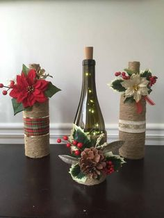 Wine Bottle Crafts – Make the Best Use of Your Wine Bottles – Drinks Paradise Wine Bottle Centerpieces, Christmas Centerpieces, Xmas Decorations, Wine Bottle Decorations, Table Centerpieces, Glass Bottle Crafts, Diy Bottle, Crafts With Wine Bottles, Decorating Wine Bottles