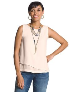 Chico's Women's Double-Layer Tank In Pale Dogwood, Pale Dogwood, Size: 4 (20/22 XXL)