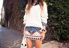 Song of Style  H  Cable Knit Sweater Jennifer Zeuner Choker Necklace. Vintage Denim Shirt. Zara Beaded Skirt. Pamela Love x Nine West Boots.Pour La Victoire Purse