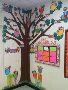 Owl classroom decor themes with trees new birthday tree cut from brown butcher paper each month Paper Tree Classroom, Owl Classroom Decor, Head Start Classroom, Kindergarten Classroom Decor, Diy Classroom Decorations, Birthday Tree, Birthday Wall, Birthday Board, Birthday Chart Classroom