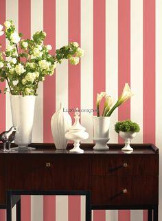 Ashford Stripes SA9179 Papel de Parede Vinílico Lavável Listrado Creme Suave (quase branco), Rosa Coral