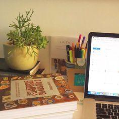 Home office da jornalista e documentarista @biaperes com toque de vida #oitominhocas  #suculentas #ceramica #decoração #homeoffice #plantinhas #presentecriativo