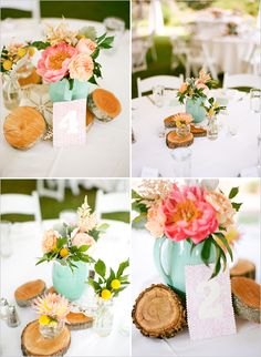 wedding centerpiece ideas- LOVE the teal and coral/peach colors!    Note: this is way more pink. Don't look at flower color :-) We could paint vases teal.....even mason jars. It's another way to tie in your colors. Let me know your thoughts.