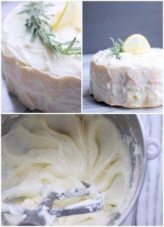 Fluffy Lemon-Rosemary Layer Cake with Lemon Cream Cheese Frosting- Baker Bettie Carrot Cake Frosting, Lemon Cream Cheese Frosting, Fluffy Frosting, Baking Science, Cheesecake Desserts, Bread Cake, Desert Recipes, Cupcake Cakes, Cupcakes