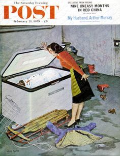 """Frosty in the Freezer"" By John Falter. Issue:  February 21, 1959. ©SEPS."