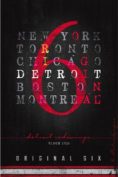 Original 6 - Detroit Red Wings Statement Piece - Perfect Christmas, Birthday or Anniversary Gift - Unframed Prints on Etsy, $29.50