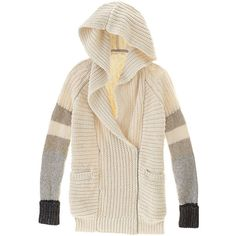 Victoria's Secret Hooded Zip Cardigan ($128) ❤ liked on Polyvore featuring tops, cardigans, brown, raglan top, chunky oversized cardigan, pink top, brown tops and zip top