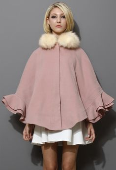 Detachable Faux Fur Collar Ruffle Cape in Pink--love the retro feel of this cape