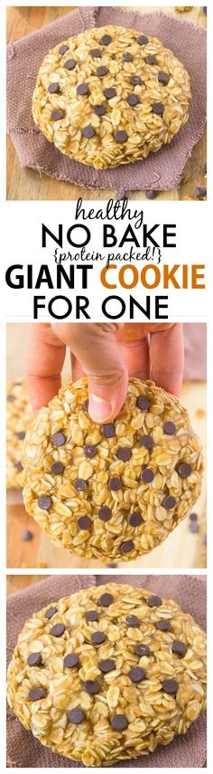 Healthy No Bake Giant Cookie for ONE recipe- Delicious, chewy and portable, these quick and easy cookies have NO butter, oil or flour and are packed full of protein! {vegan, gluten free, refined sugar free} -thebigmansworld.com #singleserve #healthy #breakfast