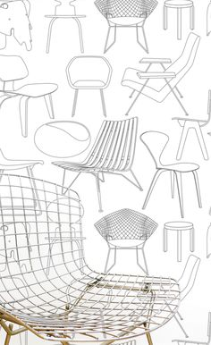 Sitting Comfortably Wallpaper with chairs designed by Harry Bertoia Modern Wallpaper Designs, Contemporary Wallpaper, Designer Wallpaper, Cover Wallpaper, Graphic Wallpaper, Amazing Wallpaper, Grey Wallpaper, Room Wallpaper, Muebles Art Deco