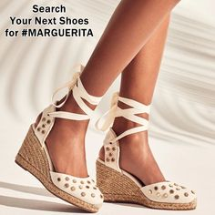 Beige leather, rubber and cotton Marguerita espadrille wedges from Stuart Weitzman featuring star stud detailing, gold-tone hardware, a high wedge heel, a tie fastening and a branded insole Next Shoes, Women's Shoes, Hot Heels, Wedge Heels, Espadrille Sandals, Espadrilles, High End Shoes, High Wedges, Shoe Company