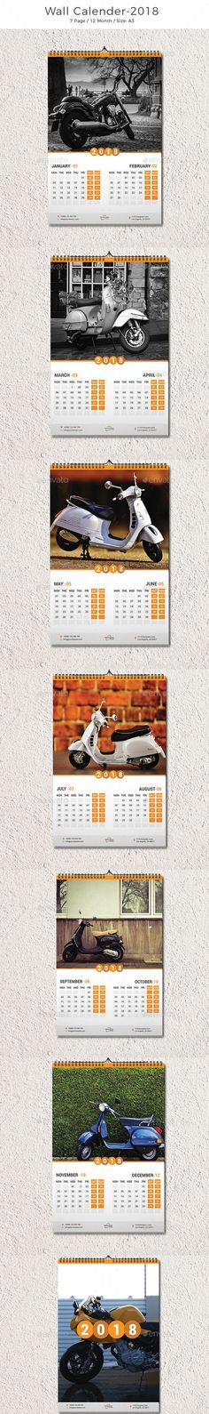 Wall Calendar 2018 Template Vector EPS, AI Illustrator