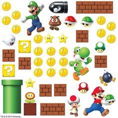 SUPER MARIO Bricks Coins 45 BiG Wall Luigi Nintendo Decals Room Decor Stickers E  | eBay