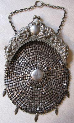 Antique Art Nouveau Floral Repousse G Silver Chatelaine Chain Mail Purse JMC #EveningBag