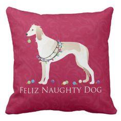 Saluki Feliz Naughty Dog Christmas Design Pillow