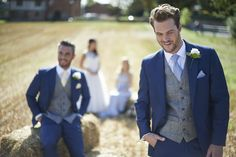 Our royal blue mohair suits with our grey and royal blue tweed waistcoat…