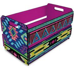 Caixote de feira -  organização Yoga Decor, Diy Pins, E Design, Decoration, Crates, Decoupage, Stencils, Decorative Boxes, Tim Beta