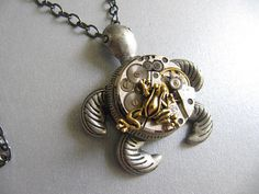 Steampunk Necklace, Watch Parts, Turtle, Frog, Steampunk Jewelry, Unisex, Mens, Women on Etsy, $24.00