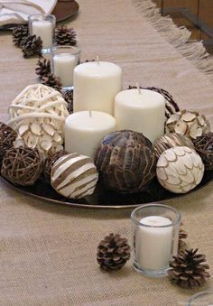 Diy centerpieces 147070744058590423 - Thanksgiving DIY centerpiece neutral modern theme as part of a Thanksgiving Entertaining Post featuring Nilla, PB & Mallow Squares dessert recipe Source by alainagb Candle Centerpieces For Home, Everyday Centerpiece, Dining Room Table Centerpieces, Table Decor Living Room, Table Decorations, Diy Table, Thanksgiving Diy, Thanksgiving Decorations, Holiday Tablescape